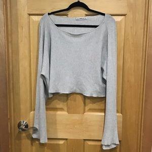 Zara knit sweater bell sleeve tie bow gray crop
